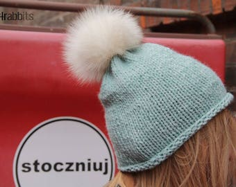 Fur Hat/Wool Knitted Hat/Fox Fur Pom Pom/Chunky Hat/Winter Hat