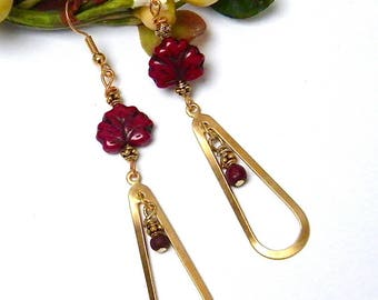 Earrings Valentine's day, romantic, brass, bone and Czech glass beads