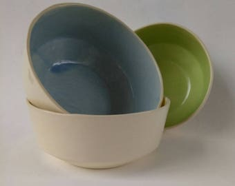 Ceramic Bowl, cereal bowl, soup bowl, pottery bowl, white bowl, blue, yellow, green