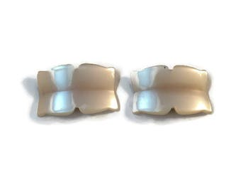 Pearlized Lucite Shoe Clips, Faux Mother of Pearl, Vintage Shoe Ornaments, Costume Jewelry