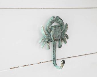 Cast Iron Crab Hook Crab Key Hook Crab Coat Hook Crab Towel Hook coastal hook nautical hook beach towel hook crab kitchen towel hook