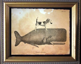 Beagle Dog Riding Whale - Vintage Collage Art Print on Tea Stained Paper - Vintage Art Print