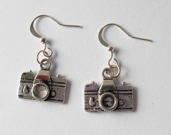 Camera Charm Earrings, Photography Enthusiast Present, Point Shoot and Snap Gifts, Picture Admirer, Quirky Jewellery, Photographer Token