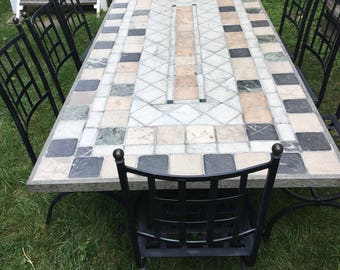 Vintage Custom Italian Marble Tile Set In Granite Outdoor Dining Table Set