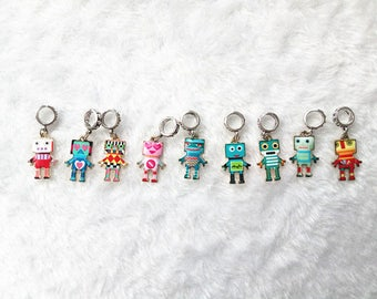 A set of 9 PCs colorful robot Beads Dreadlock Beads dread beads 8mm hole