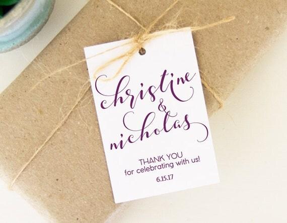 Wedding Gift Name Tags : ... You Tags, Favor Gift Tags, 24 Wedding Favor Tags, Custom Name Hangtags