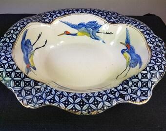Antique James Kent Fenton Pottery Caliph Birds Serving Bowl