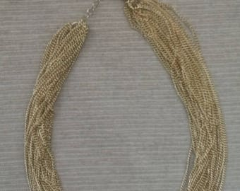 multi strand necklace/1970s necklace/gold plated necklace/gold necklace