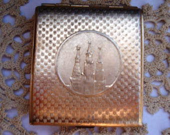 Vintage Soviet Aluminum Cigarette Case/ Moscow The Kremlin Cgarette Box/ Double Sided Cigarette Case / USSR/1960s