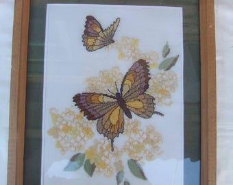 Butterflies, Flowers   Embroidery-Wall Decor