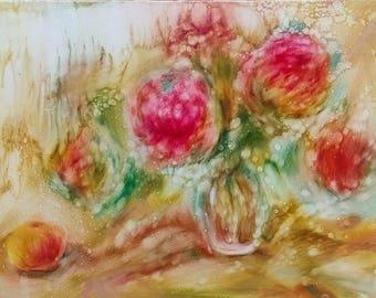 Original Oil Painting Bouquet of Peonies  Apple