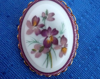 Vintage Ceramic Brooch,Purple Flower Brooch,Oval Ceramic Brooch,Pansy Flower Brooch