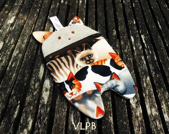 Cat dress handkerchief paded smartphone linen and cotton with cats design