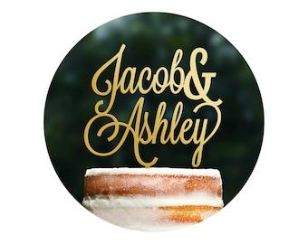 Cursive Wedding Cake Topper, Custom Name Wedding Cake Topper, Personalized Cake Topper, Scripted Cake Topper, Calligraphy Cake Topper (T381)