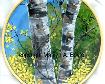 Hand PAINTED WOOD PLATE; Birch trees, autumn scene, forest, nature, wood plate stand, original art, shelf art,