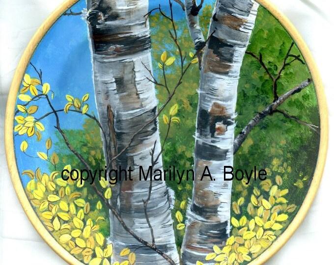 Hand PAINTED WOOD PLATE; Birch trees, autumn scene, forest, nature, wood plate stand, original art, shelf art,