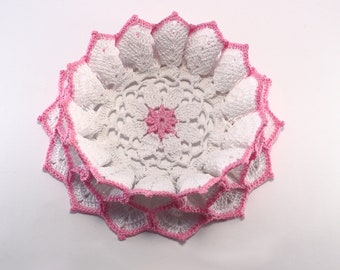 Hand Crochet Doily - White Ruffle Doily - Vintage Style Doily - Round Lace Doily Coaster - Country Rustic Decor - Housewarming Gift