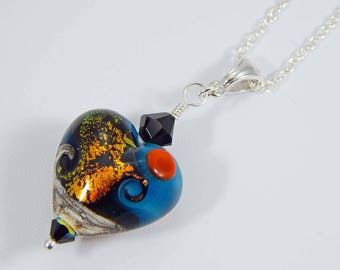 Heart Pendant. Lampwork Heart Bead. Heart Necklace. Lampwork Bead Necklace. Lampwork Focal Bead. Lampwork Bead Pendant.