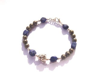 """Earth and Air"" items: Bracelet Pyrite and Lapis Lazuli 18.5 cm long"