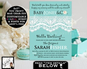 Baby and Co BABY SHOWER  Invitation - Breakfast at party themed BOY shower printable invitations, customizable, blue and white lace, 5x7