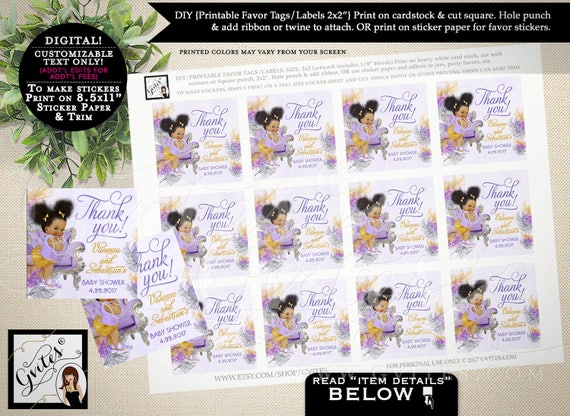 """Baby Shower thank you tags, favor tags, toppers, personalized gift tag, african american baby, stickers, labels PRINTABLE 2x2"""" 12/Per Sheet."""