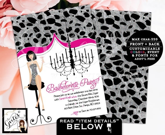 Bachelorette party invitation, wedding shower, bachelorette party invitation, glitz glam invites silver pink, PRINTABLE double sided 5x7