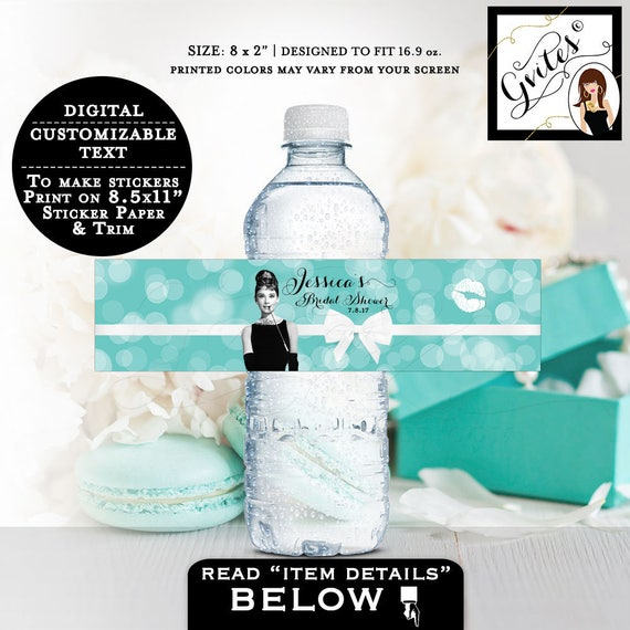 "Breakfast at Tiffany's bridal shower water bottle labels, Audrey Hepburn party supplies, party stickers, decor 8x2""/5 Per Sheet."