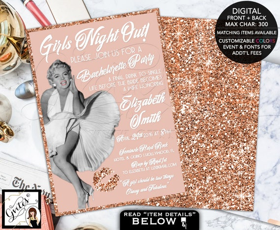 Rose Gold invitations, bachelorette hollywood invitation, Marilyn Monroe 1950s bridal shower, retro invites, girls night out, printable 5x7.