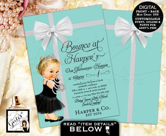 Bounce house birthday invitation, breakfast at tiffany's themed baby girl first birthday invites, double sided, customizable, 5x7 digital.