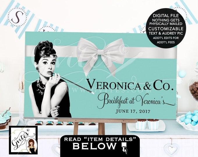Breakfast at Audrey's Bridal Shower Poster Sign. Dessert Table Backdrop, bridal shower, wedding, Audrey Hepburn Printable. DIGITAL, DIY.