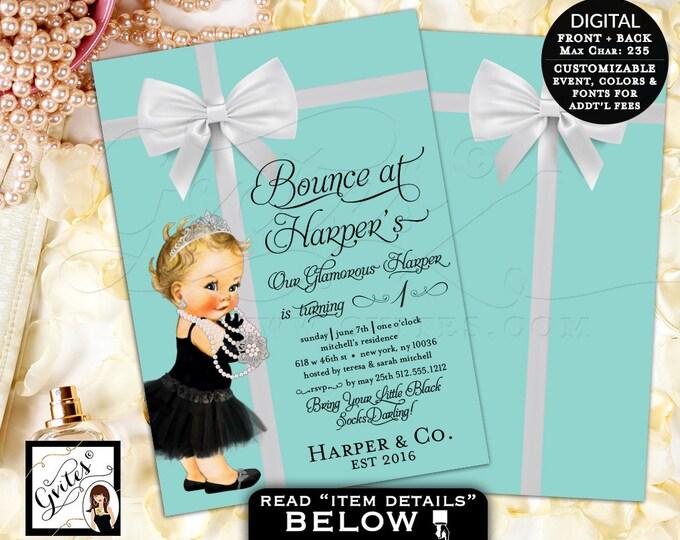 Baby and Co Invitation, Bounce house birthday invitation, breakfast at tiffany's first birthday invites, double sided, 5x7 digital.