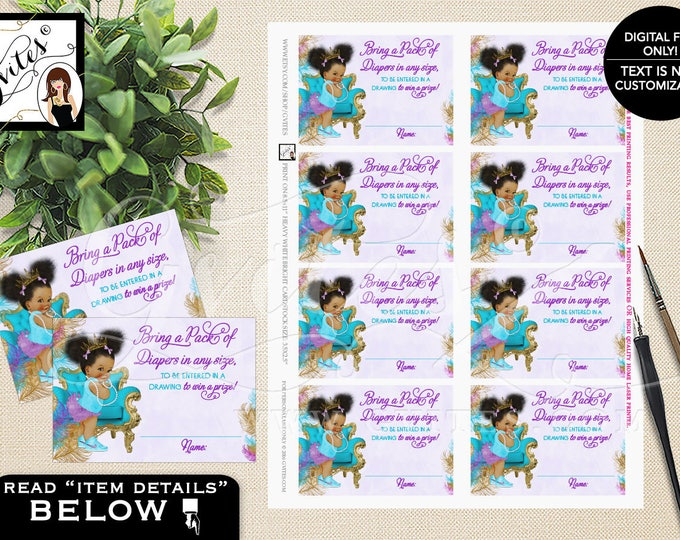 "Diaper raffle tickets, purple teal and gold diaper tickets ethnic baby girl, raffle ticket games. PRINTABLE 3.5x2.5"" 8/Sheet."