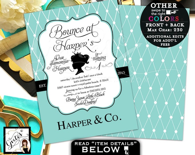 Baby and Co first birthday invitation, bounce at, princess 1st paris theme, turquoise blue, blush pink, digital file 5x7 double sided
