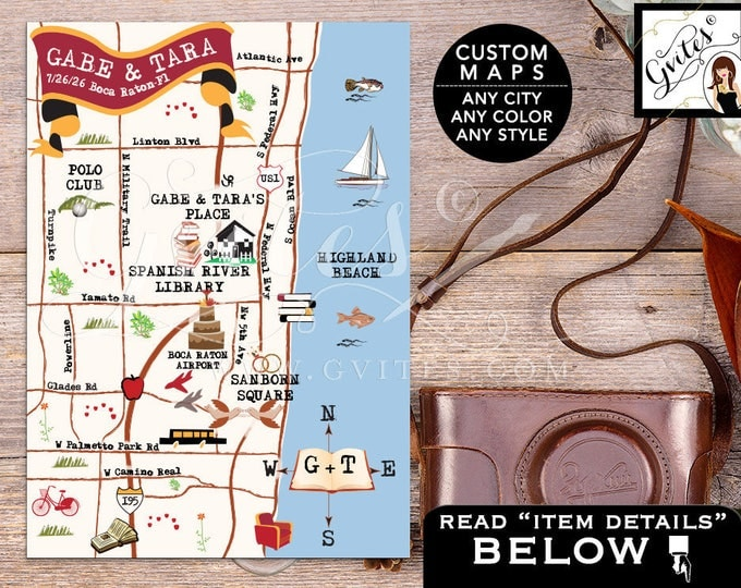 Library Theme Wedding Map - Custom maps, Boca Raton, Florida Save The Date Map, Wedding Weekend, Destination Map Wedding, Directions 5x7