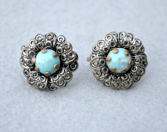 Blue Art Glass Silver Tone Earrings Vintage