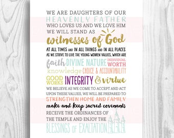 LDS Young Women Motto - 2018 Mutual Theme - Peace in Christ - daughters of our Heavenly Father