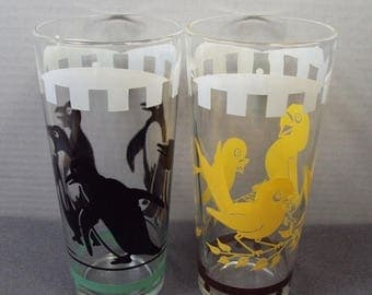 ON SALE 60s Yellow Bird Tumbler Drinking Glasses