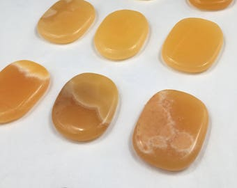 Orange Calcite Flat Rock Worry Stone Relieve Pain 17rf1114P