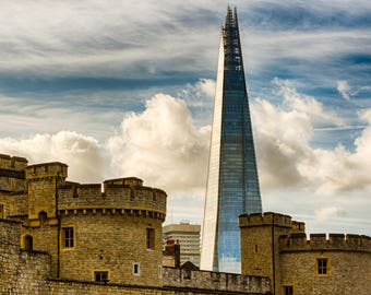 Tower of London and The Shard, photographic print London old and new,  various sizes, London memory