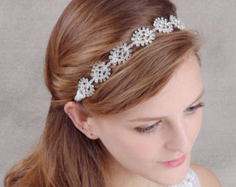 Bridal Headpiece - Rhinestones Headpiece - Bridal Headband - Bridal Flower Hairpiece - Wedding Hairpiece - Bridesmaid Headband