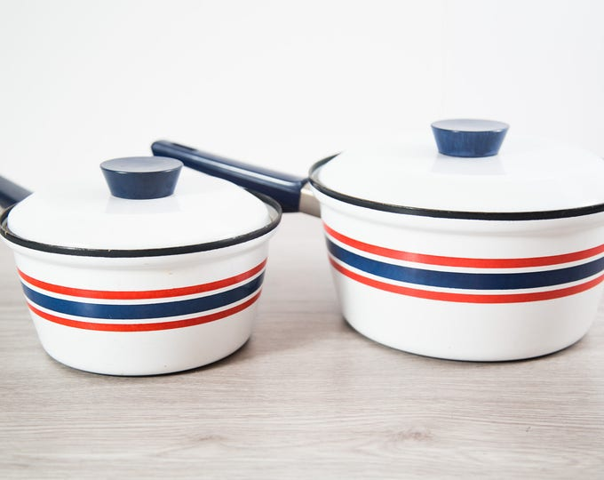 Norway Celebration Club Pots / Norwegian Dansk Danish Modern Red and Blue Banded Stripe Scandinavian Style Stovetop Cooking Pots
