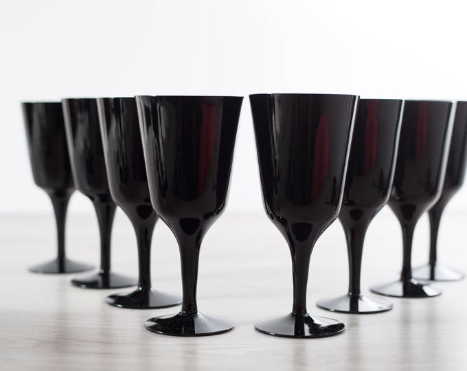 Scandinavian Black Wine Glasses / Set of 8 Royal Krona Älghult Glasbruk Made in Sweden Cocktail Aperitif Glassware Barware Swedish Art Glass