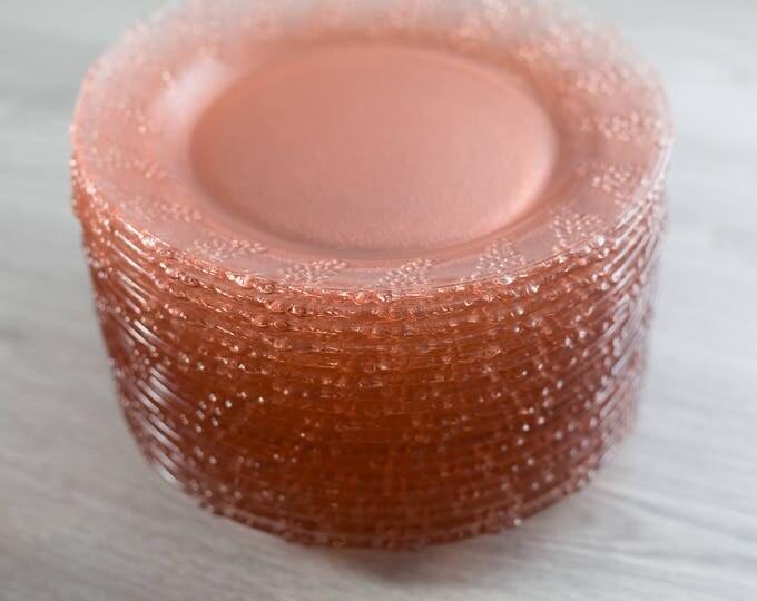 Vintage Pink Glass Grape Plates