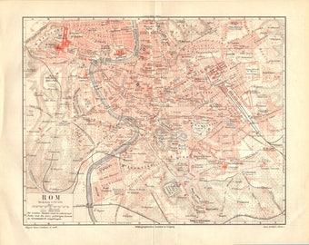 1904 Antique Map Rome Map Vintage Rome Map Antique Rome Map Italy Map