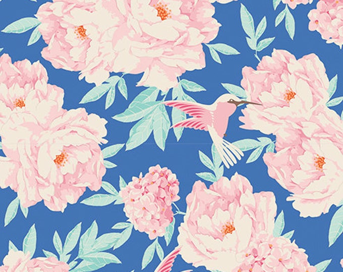 TILDA LEMONTREE - Hummingbird Blue 100003 - 1/2 yard
