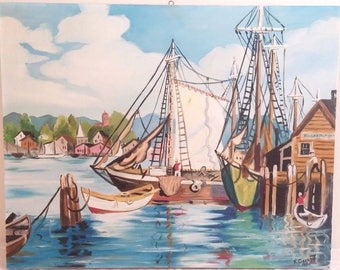 Vintage Oil Painting Amateur Art Sailing Harbor Boat Nautical New England 1960 Vintage Yay