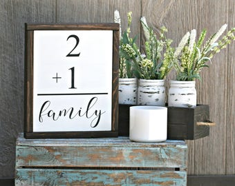 Two Plus Family Framed Wood Sign