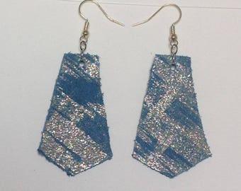 Leather earrings, blue earrings, turquoise, gold, geometric