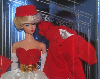 NEVER USED! Deadstock! RARE! 1990s 60s Reproduction Collector Edition Red White Velvet Satin Silken Flame Blond Bubble Cut Head Barbie