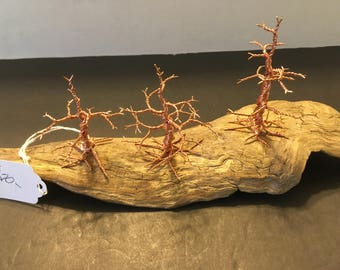 Copper Wire Miniature Bonsai trees mounted on driftwood